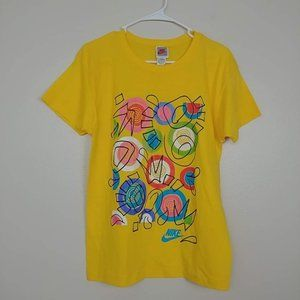 Nike Cotton Short Sleeve Doodles Tee Yellow #3297